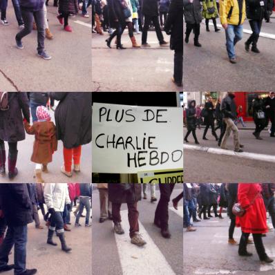la modification,  fuite du temps, charlie, marcher, marchands, fuite du temps, rue, lyon, humanité, slogan, diversité, mosaïque, peuple, charlie, hebdo, regards